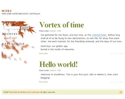 wordpress theme vortex of time, autumn style