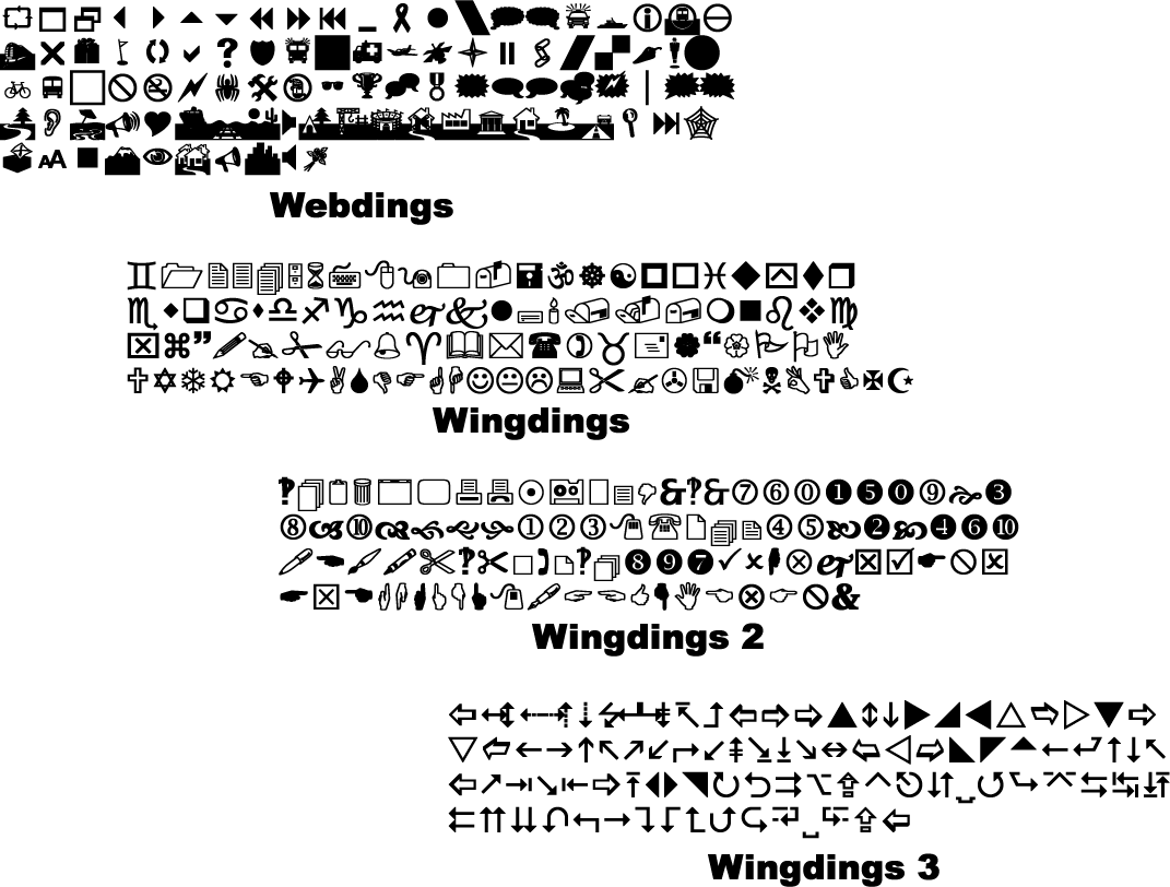 Symbolic Fonts Webdings And Wingdings