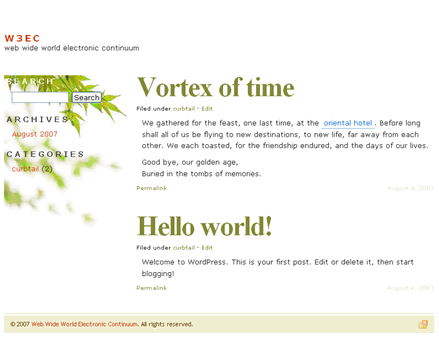 wordpress theme vortex of time, spring style