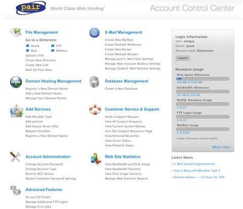 pair.com hosting account central