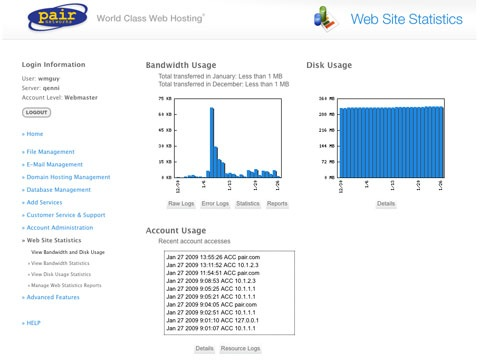 site statistics page
